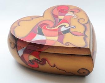 Hand Painted Box/Heart Box/ Keepsake Box/ Decorative Box/ Jewelry Box - Valentines Day Gift