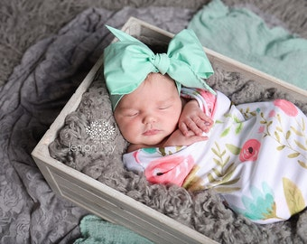 MINT Gorgeous Wrap- headwrap; fabric head wrap; mint head wrap; boho; newborn headband; baby headband; toddler headband
