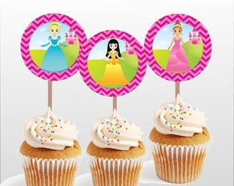 Princess cupcake topper, happy birthday topper, 2 inch circle toppers