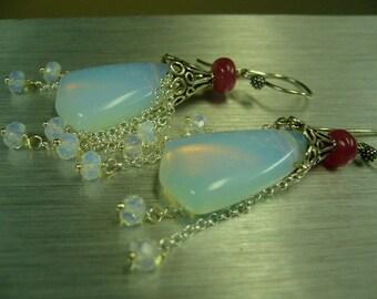 Opalite Ruby Sterling Silver Dangle Earrings