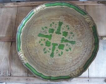 Vintage Italian large round wooden Florentine tray.