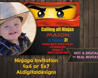 Ninjago Invitation, Lego Ninjago, Printed
