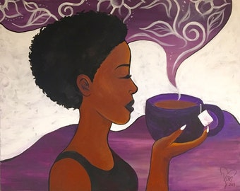 "Black Art - ""Tranquilitea"" canvas print (24""x30"")"