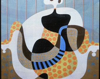 Portrait of a Charming Lady - original 1982 acrylic painting by abstract artist Jane Mitchell, signed