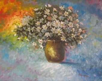 "Original Painting 50x70cm Oil on canvas ""wildflowers''  daisy"