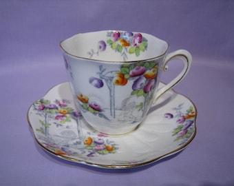 ROYAL ALBERT CROWN China Teacup and Saucer - Rosalie Pattern #9429,    c.1927 - 1935
