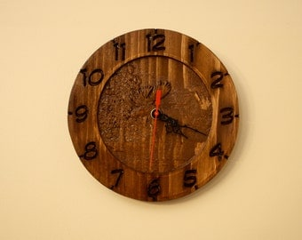 Pine Hand Made Moose Clock Cabin CNC Carved Hand Finished Nova Scotia Woods Fathers Day