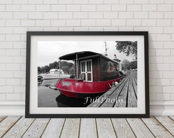 Red Boat Photography - Nautical Wall Art - fine art photography - Gift for Men