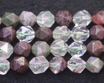 Faceted Garden Quartz Nugget Beads, 6mm 8 mm 10mm Garden Crystal Quartz Faceted Nugget Beads, 15 inch strands
