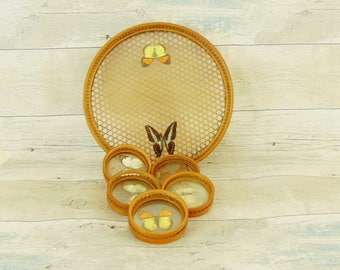 Vintage tray and coasters, butterflies coasters, glass and rattan serving set, glass serving set, clod drins serving set, retro tray coaster