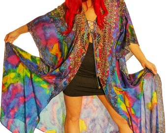 Silk Open Kaftan Jacket with lots of Crystal Embellishments