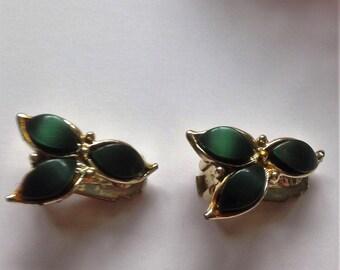 Vintage Gold Tone Earrings, Clip On Earrings, Opaque Gem Earrings, Circa 1960, Vintage Gift