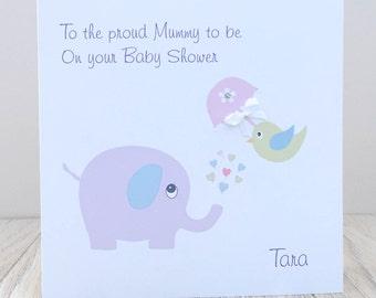 Personalised Handmade Baby Shower Card - Elephant