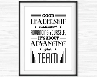 Teamwork Quotes For Office Wall Art Motivational Wall Decor Printable Success Quotes Inspirational Quote Leadership Quotes Gift for Boss