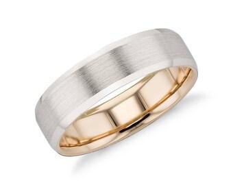 Men's Modern Comfort Fit Wedding Ring - 6mm Wide - Matte Beveled Edge Wedding Ring in Platinum and 18k Rose or Yellow Gold (6mm)