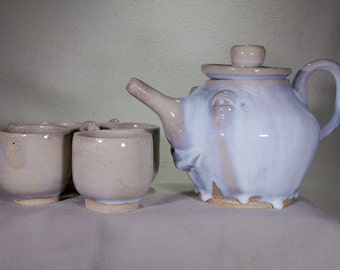 Electric Blue Spooky Snooty Face Teapot and Four Cups, Wheel Thrown Stoneware Ceramic.