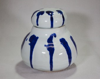 Wheel Thrown Large White and Sapphire Blue Lidded Stoneware Ceramic Jar