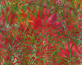 Robert Kaufman - Totally Tropical 5 - AMD-6122-197 Tropical - Lunn Studios - Batiks - Tropical - Artisian Batiks - Pink - Green