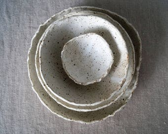 Handmade Ceramic Dish Set, Ceramic Dinner Plates, Serving/Decorative Pottery Set, Speckled Rustic Glaze, Unique One of The Kind Gift.