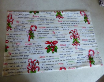Placemats and Drink Coasters. Set of 2. Christmas Carols. Cream Backing. washable. Great gift