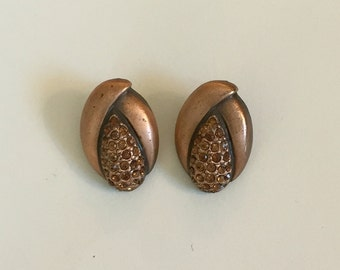 Vintage Copper Tones with Copper Color Rhinestone Post Earrings