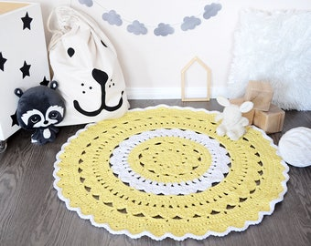 Crochet rug - Nursery rug - Kids rug - Doily rug - Nursery decor - Baby play mat - Home decor - Round crochet rug - Round rug - Neutral
