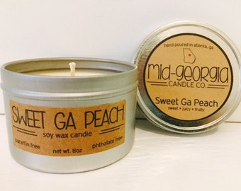 Sweet Georgia Peach Soy Candle Tin 8oz.