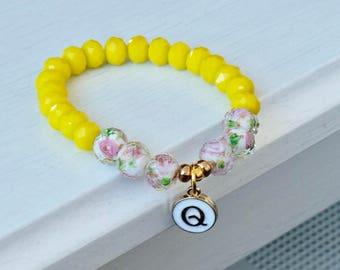 SUNNY INITIALS   Beaded Bracelet   Charm Bracelet   Initials bracelet   Flower Bracelet  