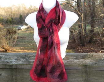 Hand Felted Nuno Black and Red Merino Wool Winter Scarf