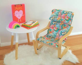 Children's ikea chair coverslip/poang cover/kids cover/tropical seat/kids decor/palm leaves bedroom/modern nursery/kids gift