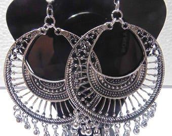 Oxidized Silver Plate Dangle Earrings , Hoop Earrings , Chandelier Earrings , Boho Earrings , Gypsy Earrings , Belly dance earrings