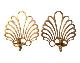 Polished Brass Fan Candle Sconces, Pair