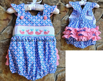 Smocked Girls Whale Ruffle Bubble- Blue/Pink Circle Polka Dots Beach, Birthday