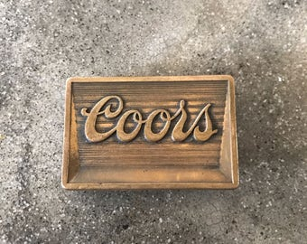 "Vintage Coors Draft Beer Bronze Belt Buckle 2.5""x1.75"""