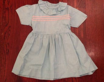 1950's 50s / Vintage Baby Girl Dress / Robins Egg Blue / 6-9 mos