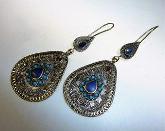 Tribal Earrings with Blue Jewels, Blue Tribal Earrings, Brass Earrings, Dangling Brass Earrings, vintage