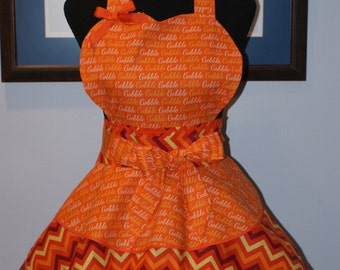 """THANKSGIVING """"GOBBLE-GOBBLE"""" Hostess Full Sweetheart Apron with Three Layer Flounced Skirt"""
