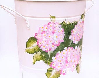Compost Bins with Lid, Hand Painted, Metal Compost Container
