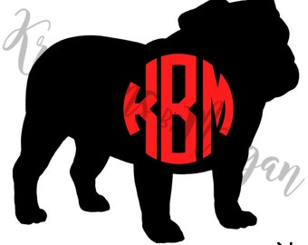 Monogrammed Bulldog Decal- UGA Decal - University of Georgia Decal - Monogrammed