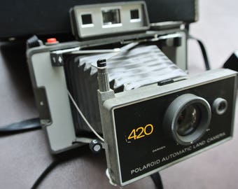Polaroid Camera, Polaroid 420 Land Camera, Vintage Bellows Camera, Automatic Land Camera, Vintage Photography, Flash Unit and Case