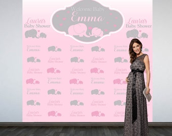 baby shower backdrop photo booth backdrop pink elephant baby shower