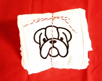 Bulldog Baby Burp Cloth Set