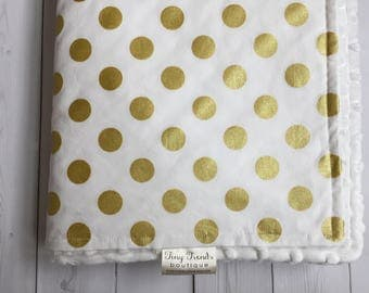 White & Gold Baby Bedding, Baby Blanket, Gender Neutral, White Gold Polka Dots, Gold Baby Bedding, Toddler Bedding, Toddler Bed Blanket