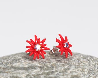 Red Stud Earrings, Red Star Stud Earrings with stones, red Flower Studs, holiday gift for her, Flower Stud earrings, Art Design Stud Earring