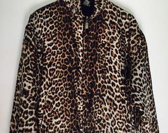Leopard Print Silk Bomber Jacket