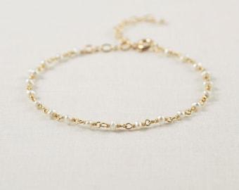 Fresh Water Pearl Bracelet, Pearl Bracelet, Pearl Braclet, Dainty Bracelet, Pearl Bracelet Wedding - Bracelet, Dainty Gold Bracelet, GB6
