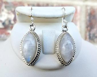 Moonstone Earrings - Drop Earrings - Sterling Silver Moonstone Earrings - Marquise Cut White Earrings - Moon Stone Jewelry