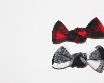 Black or Red Buffalo Plaid Know Bows