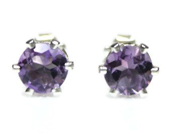 Large Amethyst Earrings Silver Round February Birthstone Amethyst Stud Earrings Wife Gift Sterling Silver Faceted Purple Gemstones Jewelry