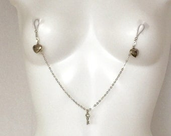 Nipple clamps with chain, non pierced nipple jewellery, body jewellery ,nipple rings, nipple adornment, erotic wear